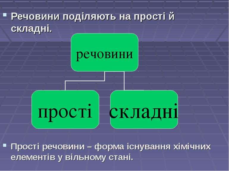Речовини поділяють на прості й складні. Прості речовини – форма існування хім...