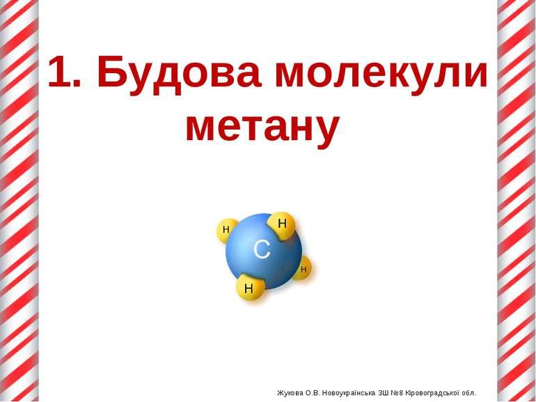 1. Будова молекули метану Жукова О.В. Новоукраїнська ЗШ №8 Кіровоградської об...