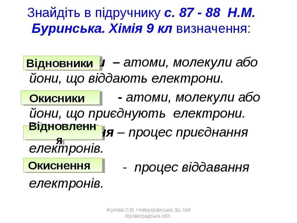 Знайдіть в підручнику с. 87 - 88 Н.М. Буринська. Хімія 9 кл визначення: Відно...