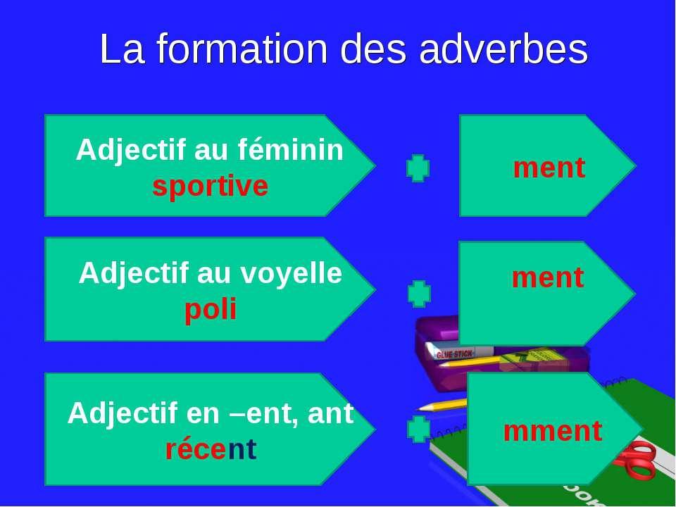 La formation des adverbes Adjectif au féminin sportive Adjectif au voyelle po...