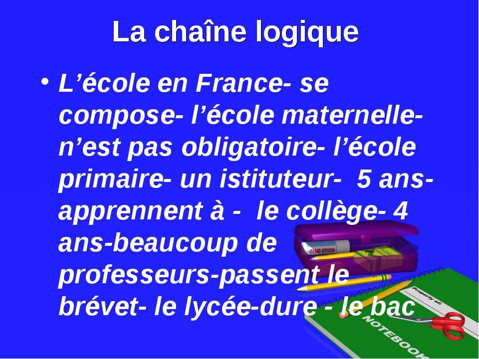 La chaîne logique L'école en France- se compose- l'école maternelle- n'est pa...