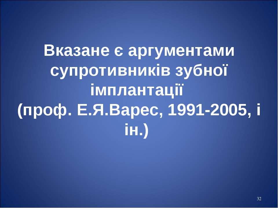 * Вказане є аргументами супротивників зубної імплантації (проф. Е.Я.Варес, 19...