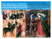 Arthur (top centre) in an illustration to the Middle English poem Sir Gawain ...