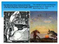 How Arthur drew forth ye sword, by Howard Pyle . The sword in the anvil or sw...