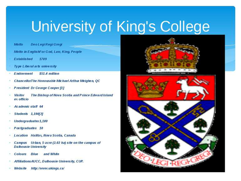 University of King's College Motto Deo Legi Regi Gregi Motto in English For G...