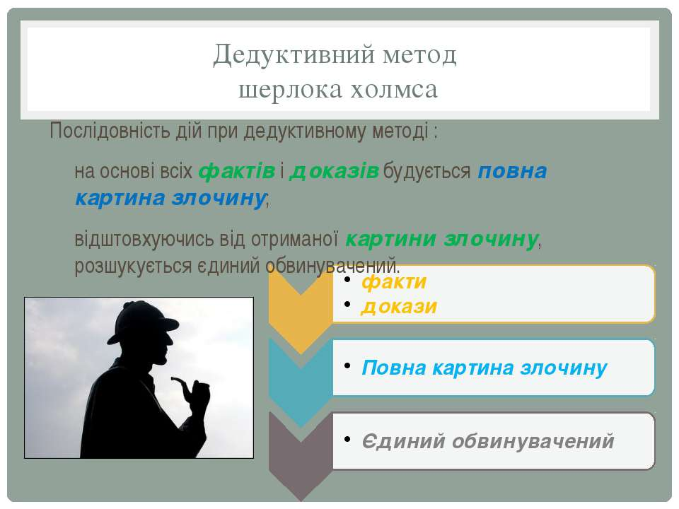 Дедуктивний метод шерлока холмса Послідовність дій при дедуктивному методі : ...