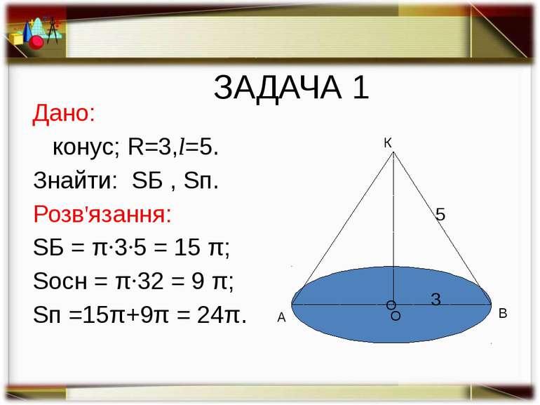 ЗАДАЧА 2. За даними малюнка (ОВ=5, КО=12) знайти площу бічної і повної поверх...