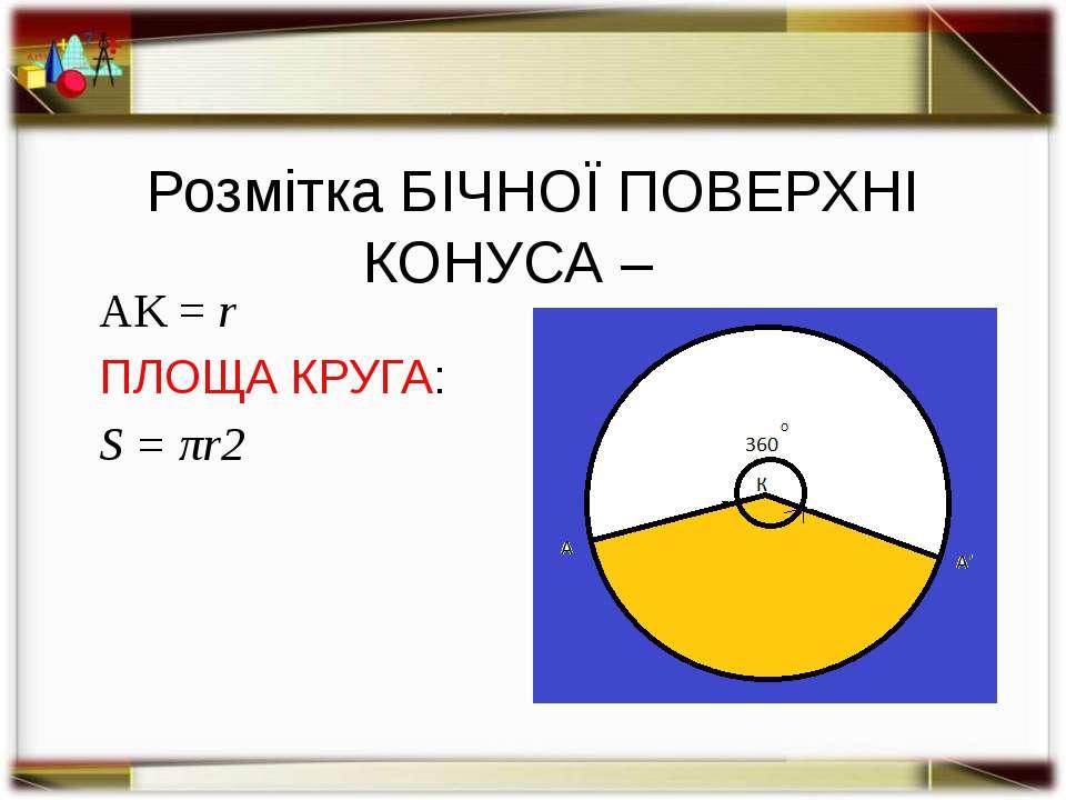 ФОРМУЛА ПЛОЩІ БІЧНОЇ ПОВЕРХНІ КОНУСА: Sб. = π R l R – радіус основи, l –твірн...