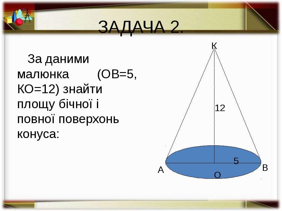 ЗАДАЧА 3. Дано: конус; R=5, h=12. Знайти: SБ , Sп. Розв'язання: l2=144+25=169...