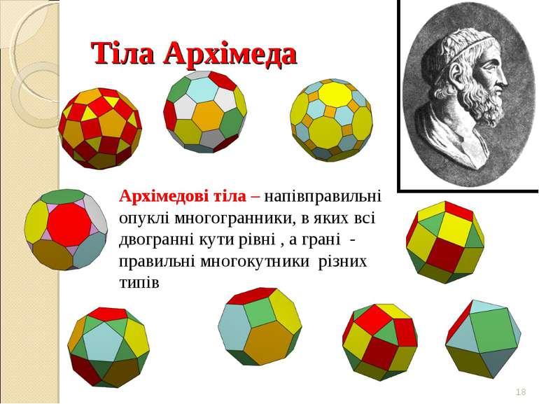 Тіла Архімеда * Архімедові тіла – напівправильні опуклі многогранники, в яких...
