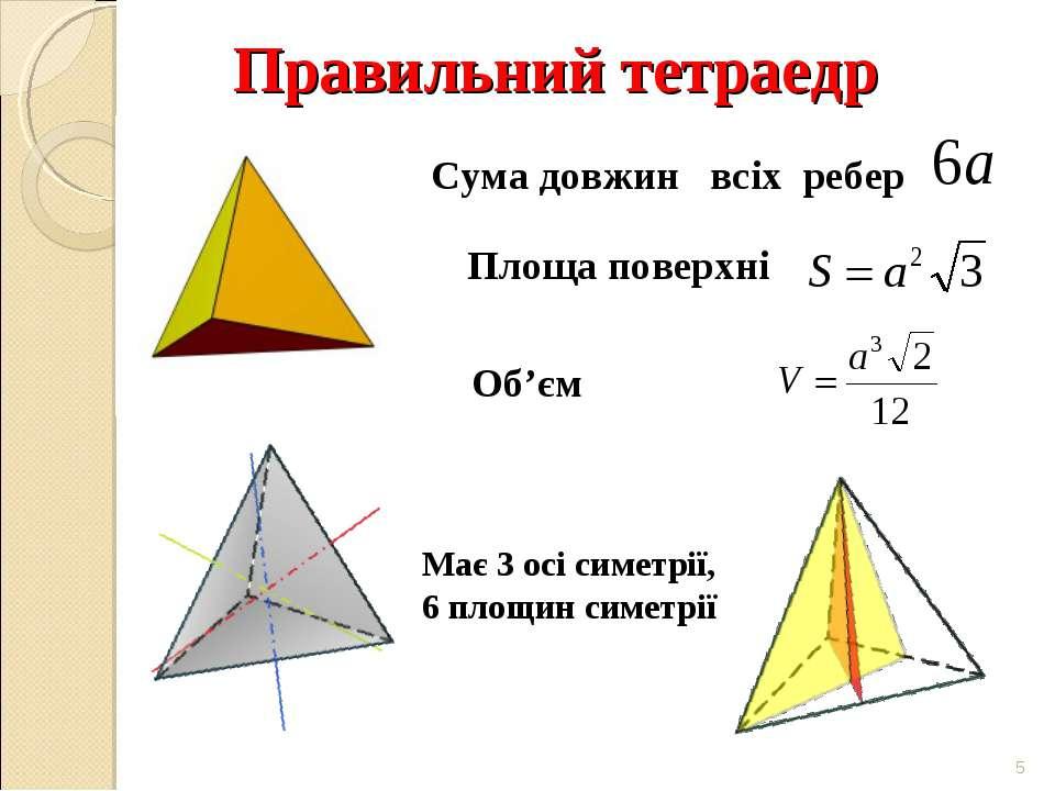 Правильний тетраедр * Має 3 осі симетрії, 6 площин симетрії Сума довжин всіх ...