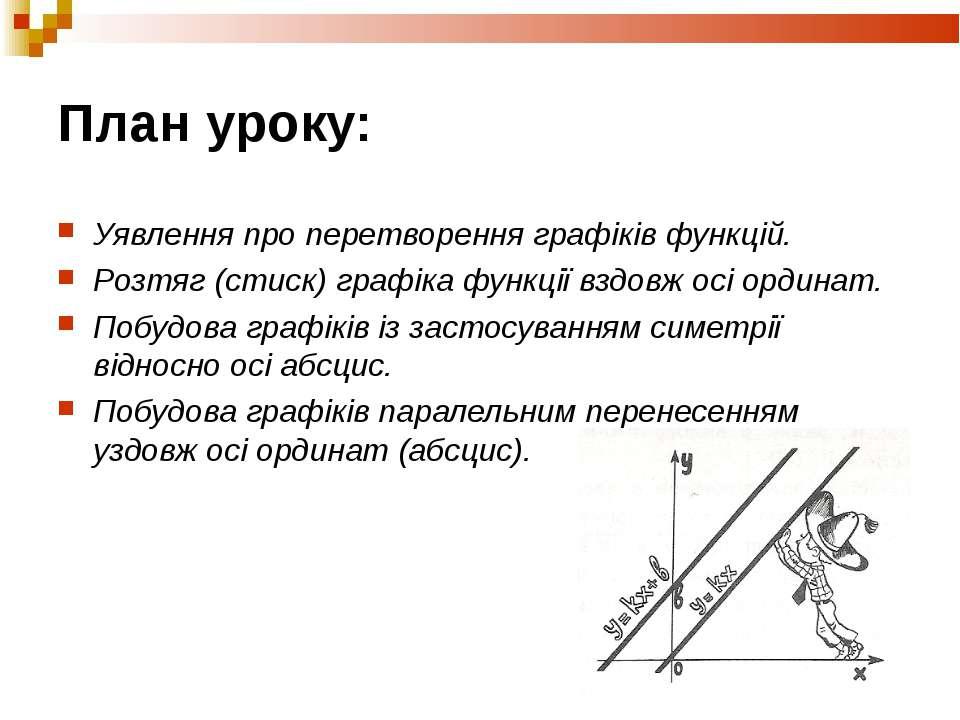 План уроку: Уявлення про перетворення графіків функцій. Розтяг (стиск) графік...