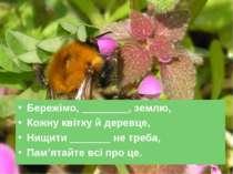 Бережімо, ________, землю, Кожну квітку й деревце, Нищити _______ не треба, П...