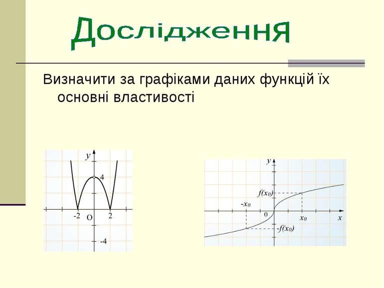 Визначити за графіками даних функцій їх основні властивості