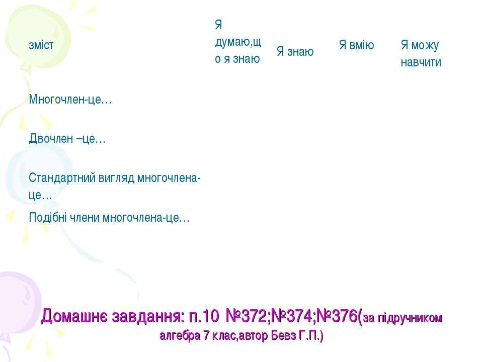 Домашнє завдання: п.10 №372;№374;№376(за підручником алгебра 7 клас,автор Бев...