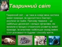 Тваринний світ Тваринний світ – це така ж невід`ємна частина живої природи, я...