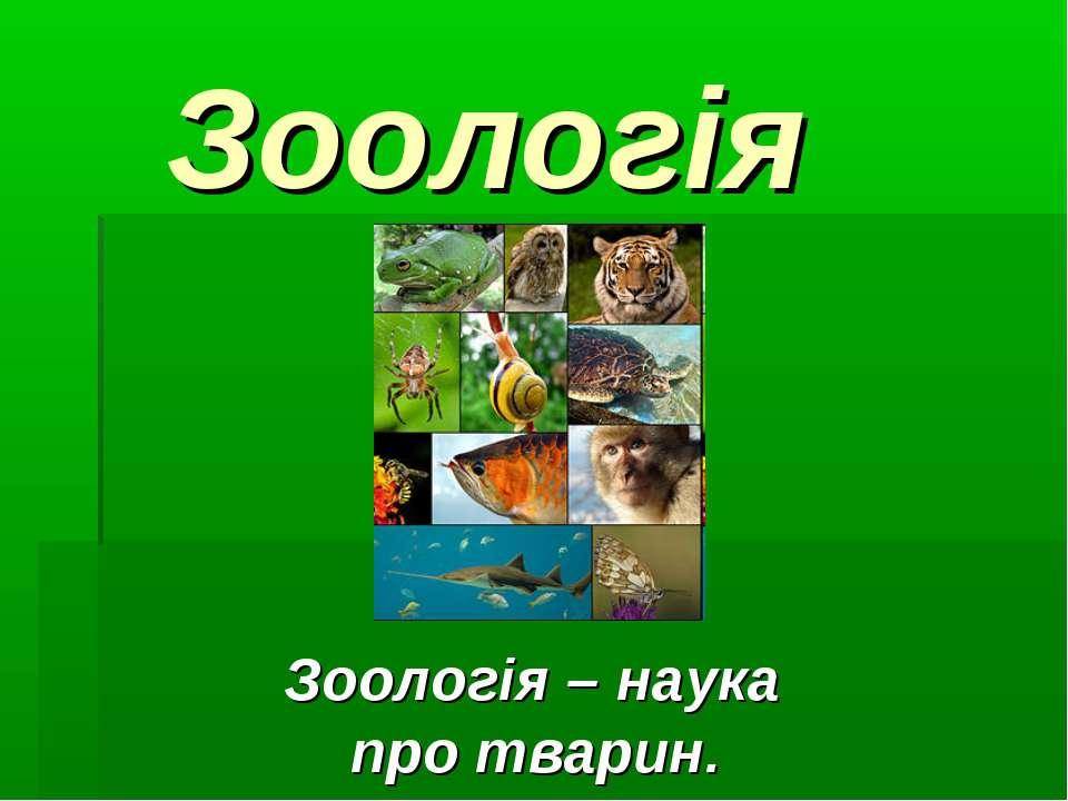 Зоологія Зоологія – наука про тварин.