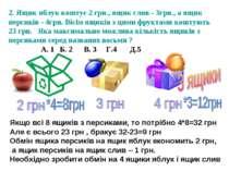 2. Ящик яблук коштує 2 грн., ящик слив - 3грн., а ящик персиків - 4грн. Вісім...