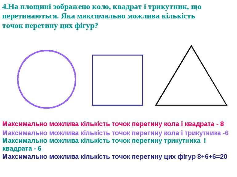 4.На площині зображено коло, квадрат і трикутник, що перетинаються. Яка макси...