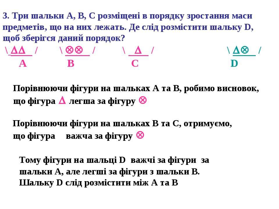 3. Три шальки А, В, С розміщені в порядку зростання маси предметів, що на них...