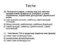 Тести 10. Позначити рядок, у якому від усіх якісних прикметників правильно ут...