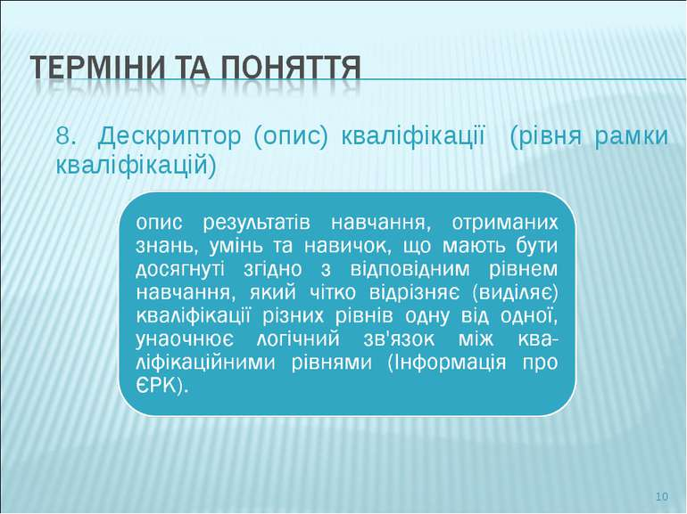 8. Дескриптор (опис) кваліфікації (рівня рамки кваліфікацій) *