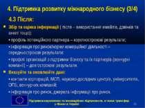 * 4. Підтримка розвитку міжнародного бізнесу (3/4) 4.3 Після: Збір та оцінка ...