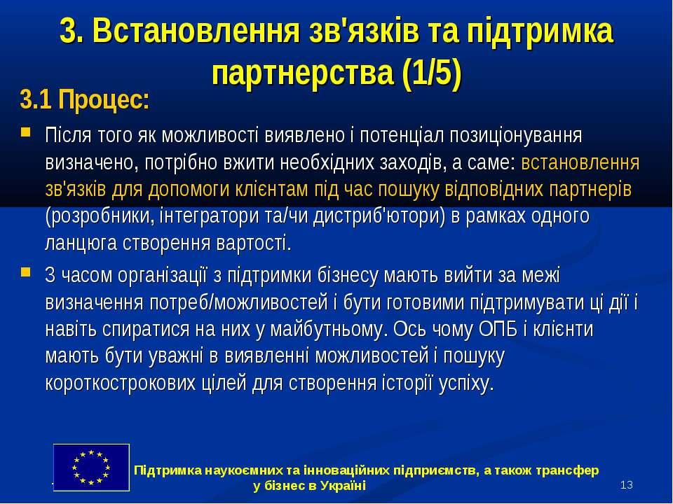 * 3. Встановлення зв'язків та підтримка партнерства (1/5) 3.1 Процес: Після т...