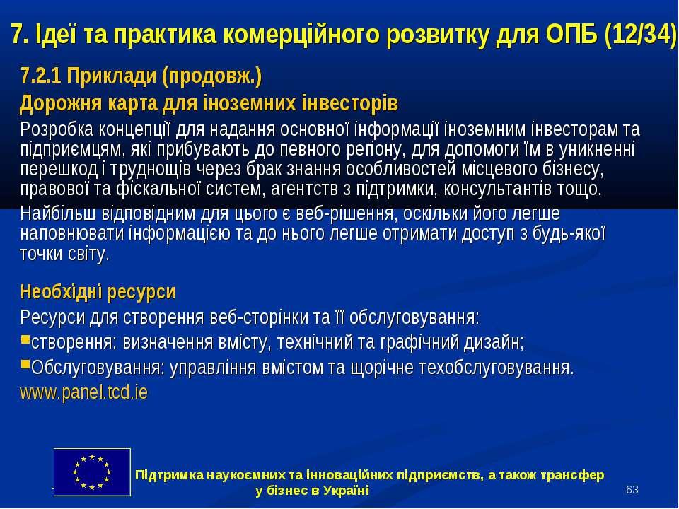 * 7. Ідеї та практика комерційного розвитку для ОПБ (12/34) 7.2.1 Приклади (п...
