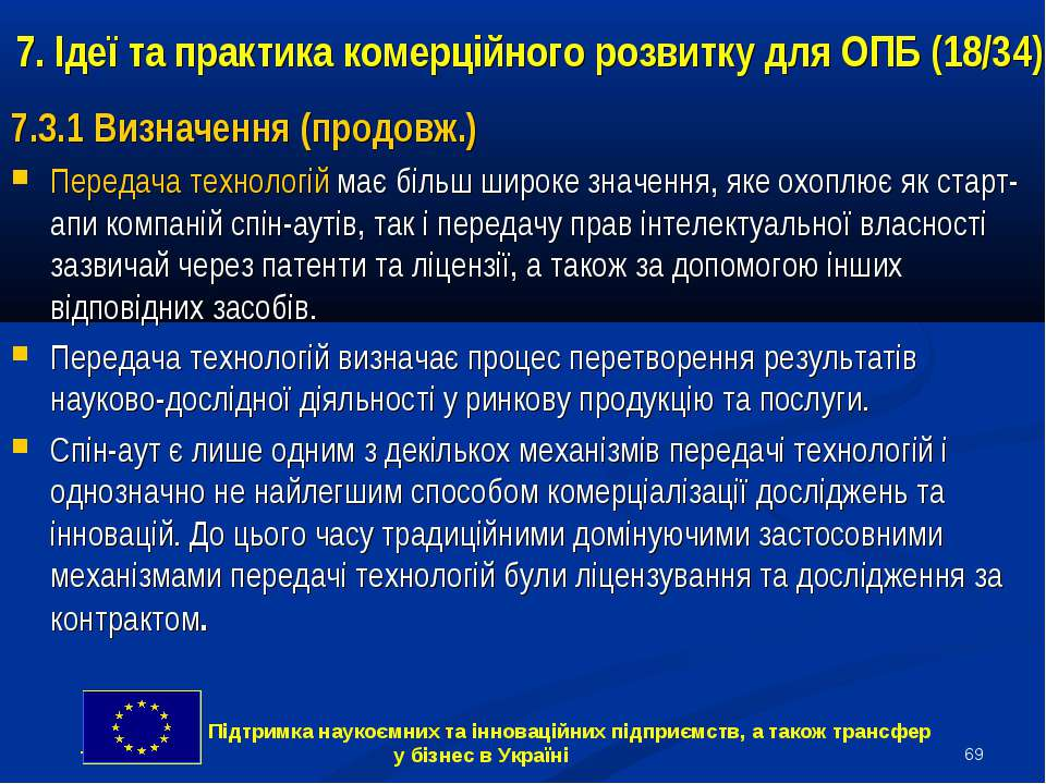 * 7. Ідеї та практика комерційного розвитку для ОПБ (18/34) 7.3.1 Визначення ...