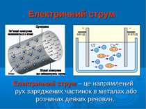Електричний струм Електричний струм – це напрямлений рух заряджених частинок ...