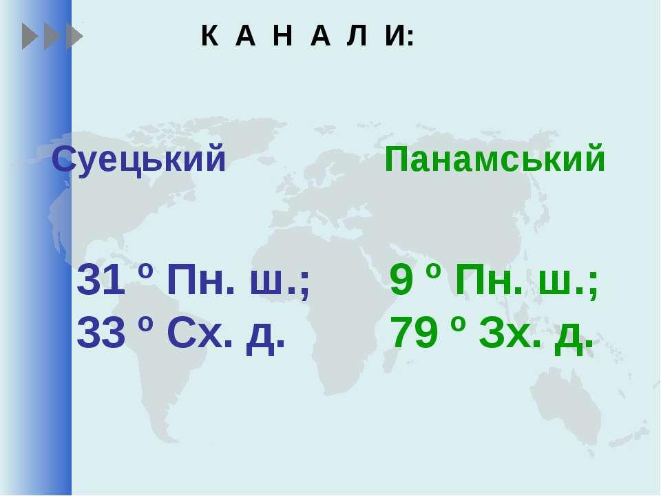 К А Н А Л И: Суецький Панамський 31 º Пн. ш.; 33 º Сх. д. 9 º Пн. ш.; 79 º Зх...