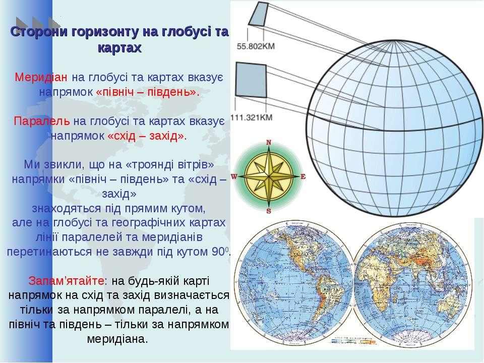 Сторони горизонту на глобусі та картах Меридіан на глобусі та картах вказує н...