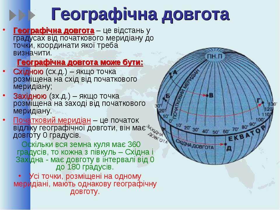 Географічна довгота Географічна довгота – це відстань у градусах від початков...