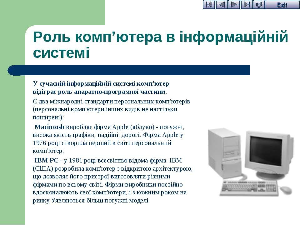 Роль комп'ютера в інформаційній системі У сучасній інформаційній системі комп...