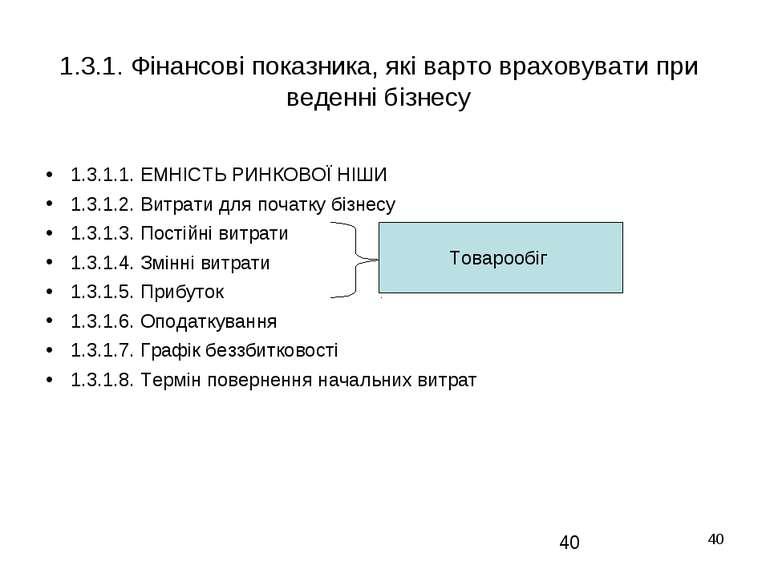 * 1.3.1. Фінансові показника, які варто враховувати при веденні бізнесу 1.3.1...