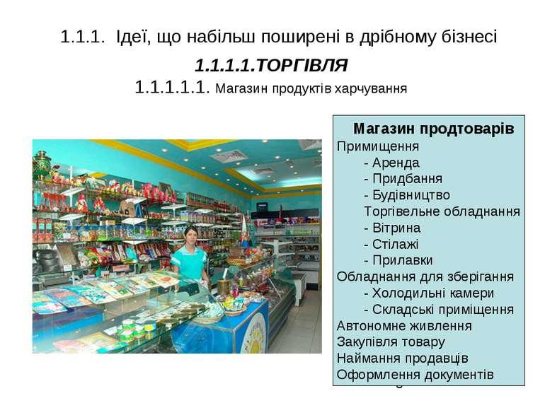 * 1.1.1.1.ТОРГІВЛЯ 1.1.1.1.1. Магазин продуктів харчування 1.1.1. Ідеї, що на...