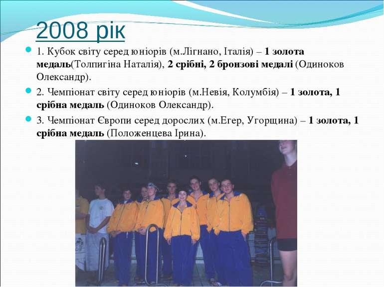 2008 рік 1. Кубок світу серед юніорів (м.Лігнано, Італія) – 1 золота медаль(Т...