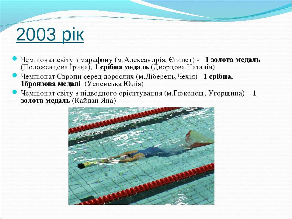 2003 рік Чемпіонат світу з марафону (м.Александрія, Єгипет) - 1 золота медаль...