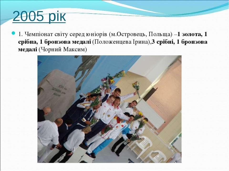 2005 рік 1. Чемпіонат світу серед юніорів (м.Островець, Польща) –1 золота, 1 ...