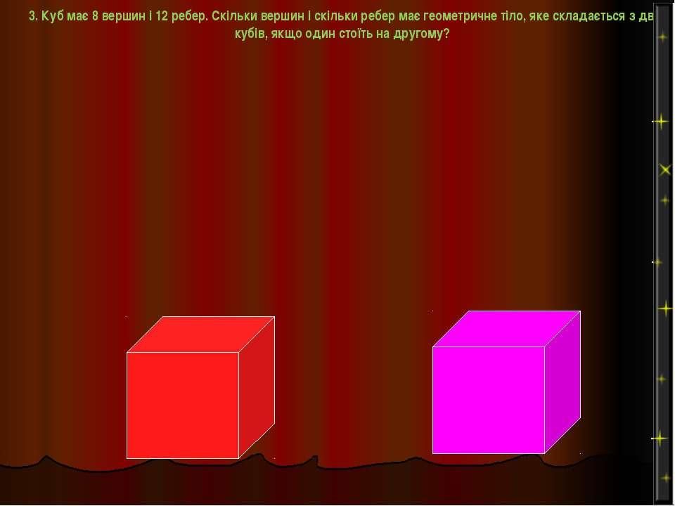 3. Куб має 8 вершин і 12 ребер. Скільки вершин і скільки ребер має геометричн...