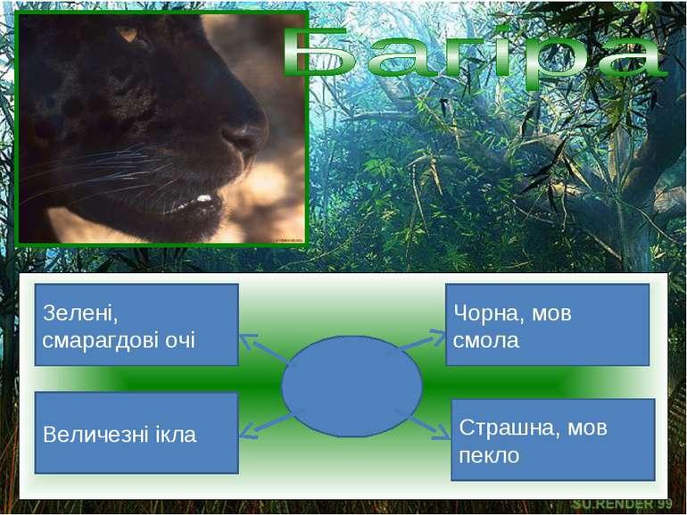 Зелені, смарагдові очі Величезні ікла Страшна, мов пекло Чорна, мов смола