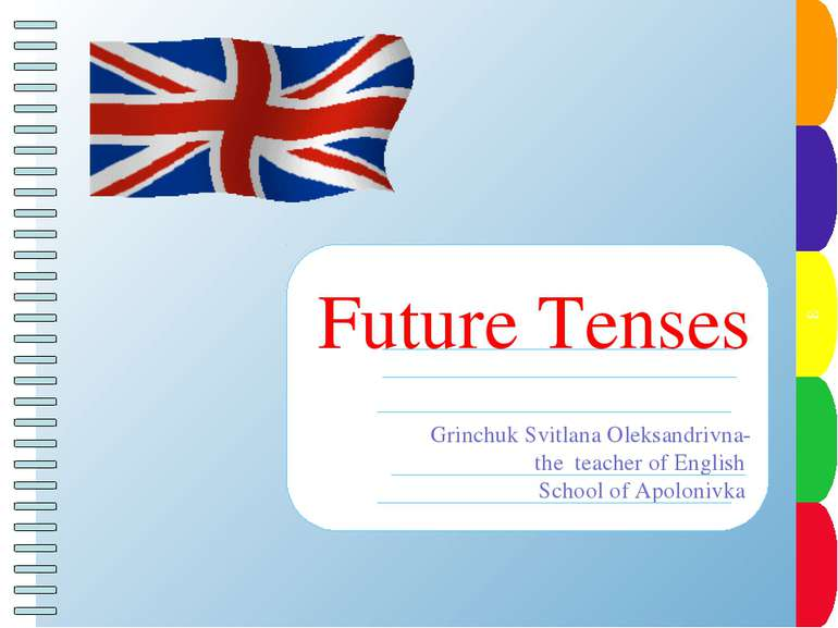 Future Tenses Grinchuk Svitlana Oleksandrivna- the teacher of English School ...