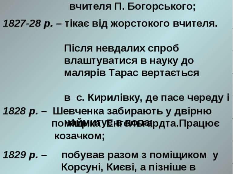 1826 р. – Тарас Шевченко йде в Кирилівську школу в найми до вчителя П. Богорс...