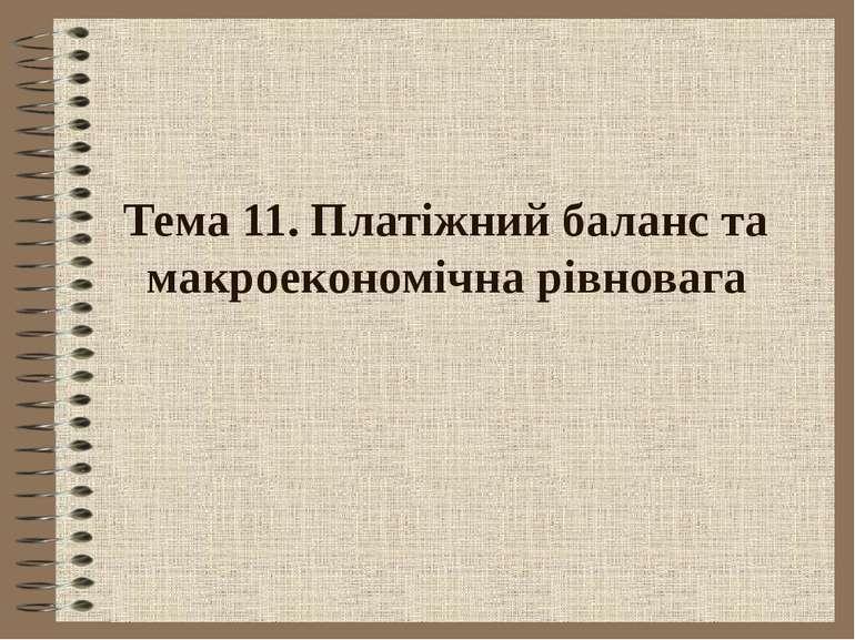 Тема 11. Платіжний баланс та макроекономічна рівновага