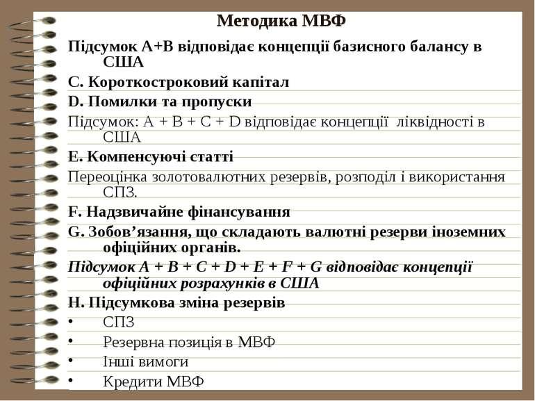 Методика МВФ Підсумок А+В відповідає концепції базисного балансу в США С. Кор...