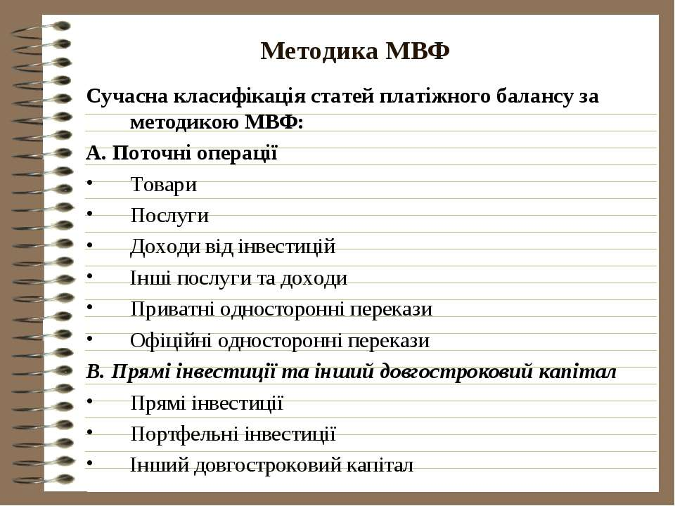 Методика МВФ Сучасна класифікація статей платіжного балансу за методикою МВФ:...