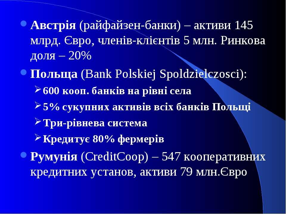 Австрія (райфайзен-банки) – активи 145 млрд. Євро, членів-клієнтів 5 млн. Рин...