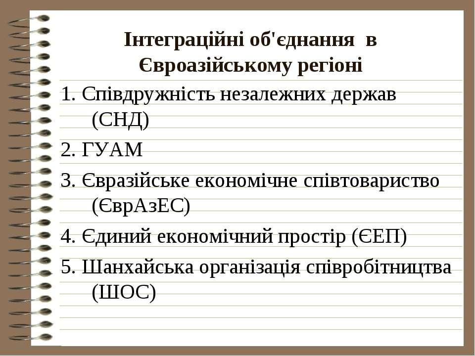 Інтеграційні об'єднання в Євроазійському регіоні 1. Співдружність незалежних ...