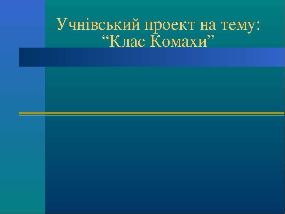 """Учнівський проект на тему: """"Клас Комахи"""""""